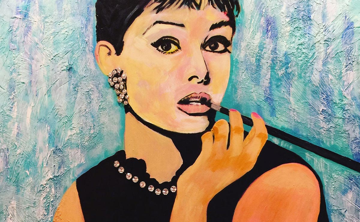 audrey hepburn original painting by artist bonnie perlin