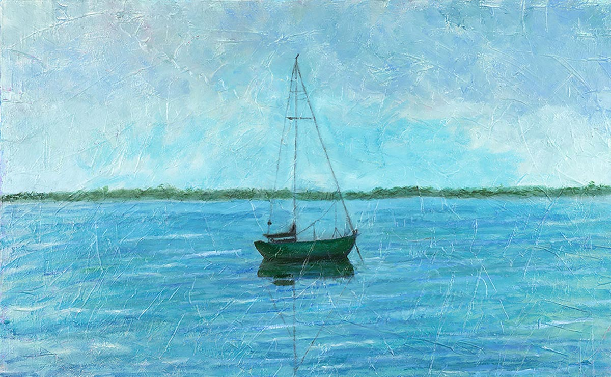 solitude sailboat original painting by artist bonnie perlin